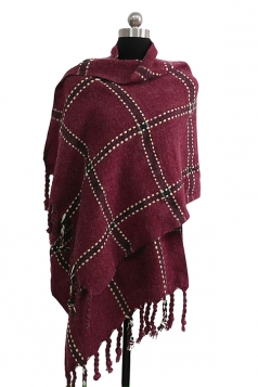 Womens Warm Thick Shawl Tassel Plaid Scarf Ruby