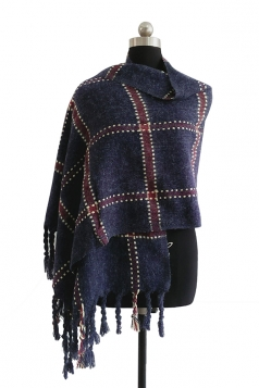 Womens Warm Thick Shawl Tassel Plaid Scarf Navy Blue