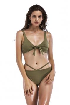 Womens Sexy Sleeveless Bandage Top&String Bottom Bikini Army Green