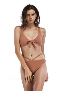 Womens Sexy Sleeveless Bandage Top&String Bottom Plain Bikini Coffee