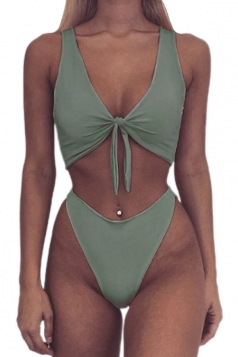 Womens Sexy Bandeau Tup%High Waist Swimwear Bottom Bikini Green