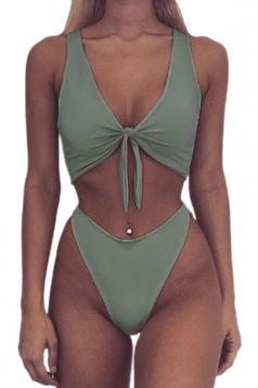 Womens Sexy Bandeau Tup%High Waist Swimwear Bottom Bikini Green