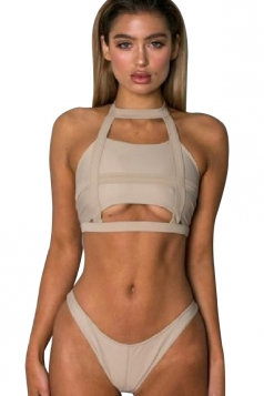 Halter Cut Out Bandeau Top&Swimwear Bottom 2 Piece Bikini Beige White