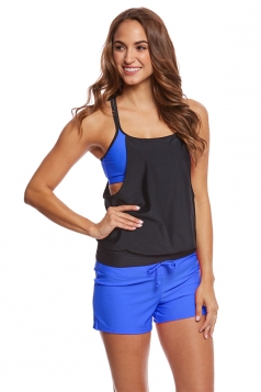 Sexy Halter Top&Drawstring Swimwear Bottom Color Block Tankini Blue