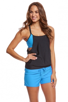 Womens Sexy Halter Top&Swimwear Bottom Color Block Tankini Turquoise