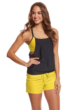 Sexy Halter Top&Drawstring Swimwear Bottom Color Block Tankini Yellow