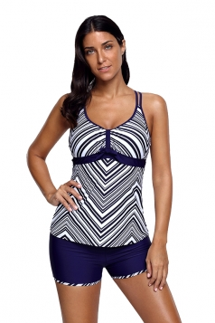 Sexy Halter Striped Top&Swimwear Bottom Set Tankini Swimsuit Navy Blue