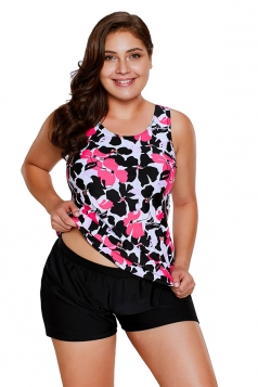 Womens Floral Printed Top&Swimwear Bottom Tankini Swimsuit Rose Red