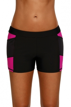 Womens Color Block Sports Boardshort Mesh Swimsuit Bottom Rose Red