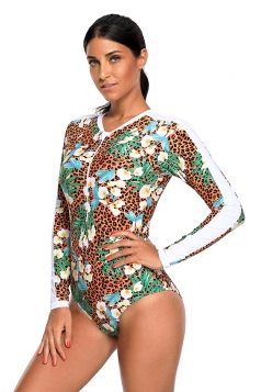 Womens Long Sleeve Floral Leopard Printed One Piece Swimsuit Brown