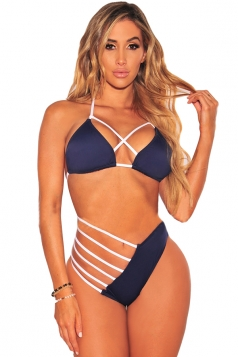 Womens Sexy Halter Lace Up Top&String Bottom Cut Out Bikini Navy Blue