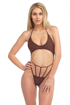 Womens Halter Lace Up Top&String Swimwear Bottom Cut Out Bikini Coffee