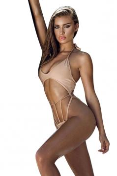 Womens Halter Lace Up Top&String Swimwear Bottom Cut Out Bikini Pink