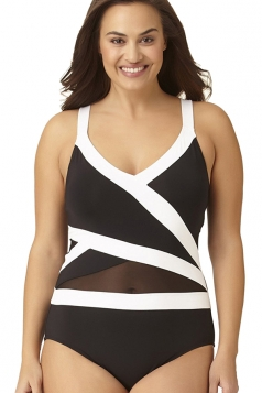 Womens Sexy V-Neck Color Block Oversize Mesh One Piece Swimsuit Black