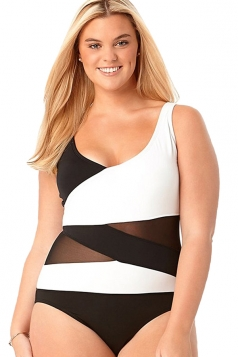 Womens Bandage Color Block Oversize One Piece Swimsuit Black And White