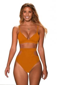 Womens Sexy Bikini Top&Cut Out High Waisted Swimsuit Bottom Orange