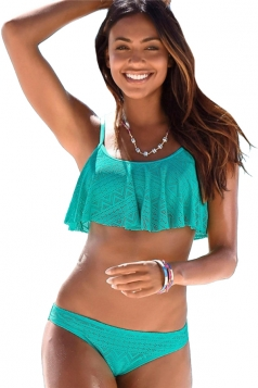 Womens Sexy Spaghetti Straps Ruffled Bikini Top&Swimsuit Bottom Blue