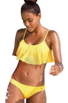Womens Sexy Spaghetti Straps Ruffled Bikini Top&Swimsuit Bottom Yellow