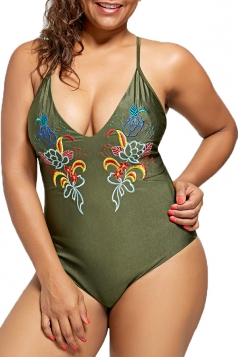 Womens Sexy Lace Up Backless Embroidered Plus Size Swimwear Army Green