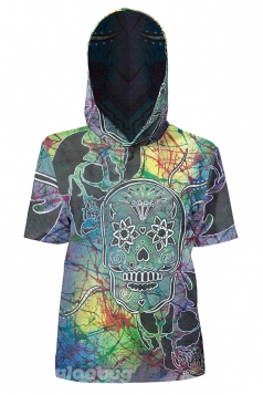 Womens Vintage Hooded Short Sleeve Skull Printed T-Shirt Blue