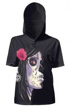 Womens Vintage Hooded Short Sleeve Skull Printed T-Shirt Black