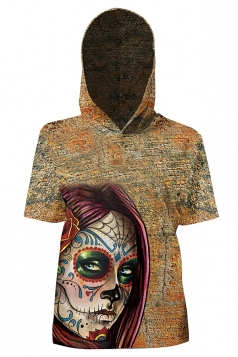 Womens Vintage Hooded Short Sleeve Skull Printed T-Shirt Brown