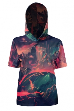 Womens Vintage Hooded Short Sleeve Volcano Printed T-Shirt Dark Green