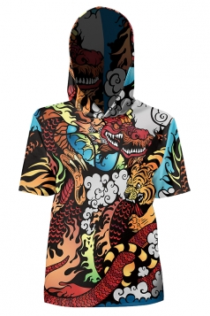 Womens Vintage Hooded Short Sleeve Tiger Dragon Printed T-Shirt