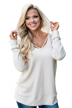 Womens Oversized Hooded Halter Long Sleeve Plain Blouse White