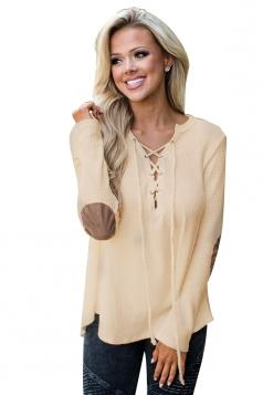 Womens Lace Up Asymmetric Hem Long Sleeve Plain Blouse Beige