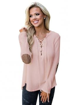 Womens Lace Up Asymmetric Hem Long Sleeve Plain Blouse Pink