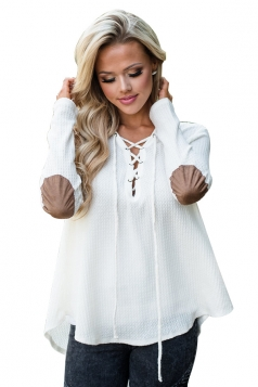 Womens Lace Up Asymmetric Hem Long Sleeve Plain Blouse White
