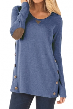 Womens Oversized Long Sleeve Crew Neck Buttons Plain Blouse Blue
