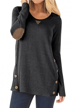 Womens Oversized Long Sleeve Crew Neck Buttons Plain Blouse Black