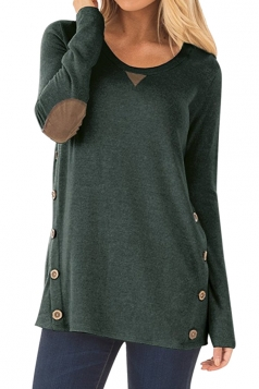 Womens Oversized Long Sleeve Crew Neck Buttons Plain Blouse Green