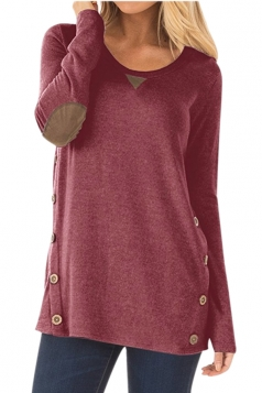 Womens Oversized Long Sleeve Crew Neck Buttons Plain Blouse Ruby