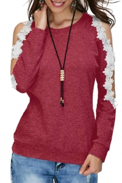 Womens Sexy Cold Shoulder Lace Crew Neck Long Sleeve T-Shirt Dark Red