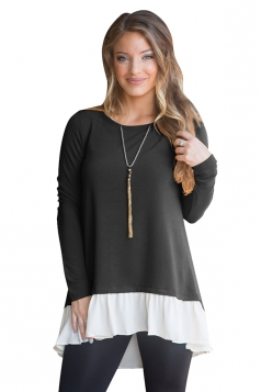 Womens Plus Size High Low Ruffled Buttoned Contrast Color Top Black