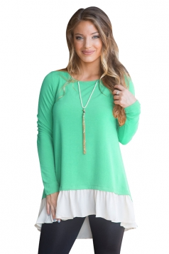 Womens Plus Size High Low Buttoned Contrast Color Top Light Green