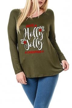 Womens Plus Size Snowflake Printed Christmas T-Shirt Army Green