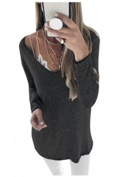Womens Sexy Deep V-Neck Long Sleeve Plain Blouse Black