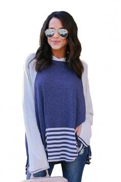Long Bell Sleeve Color Block High Low Stripe Hem Slit Thin Hoodie Blue