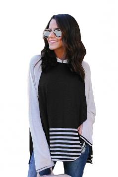 Womens Long Bell Sleeve Color Block High Low Stripe Hem Hoodie Black