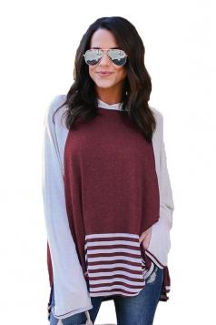 Womens Long Bell Sleeve Color Block High Low Stripe Hem Hoodie Ruby