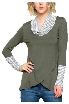 Womens Stripe Cowl Neck Long Sleeve Asymmetrical Hem Sweatshirt Gray