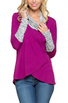 Stripe Cowl Neck Long Sleeve Asymmetrical Hem Sweatshirt Rose Red