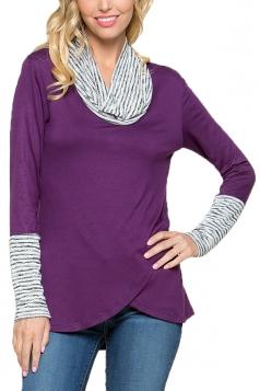 Womens Stripe Cowl Neck Long Sleeve Asymmetrical Hem Sweatshirt Purple