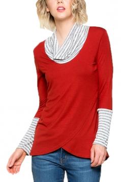 Womens Stripe Cowl Neck Long Sleeve Asymmetrical Hem Sweatshirt Red