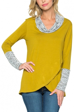 Womens Stripe Cowl Neck Long Sleeve Asymmetrical Hem Sweatshirt Yellow
