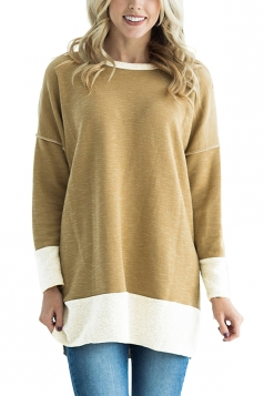 Womens Crew Neck Long Sleeve Color Block Loose Slit Sweatshirt Khaki